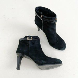 Tory Burch Black Suede Buckle Ankle Boots Heeled